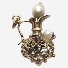 Gold Pearl Ruby and Sapphire Ewer Charm