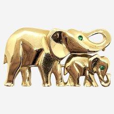 Cartier 18 Kt Gold and Emerald Elephants Pin