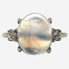 14 Kt Gold Moonstone and Diamond Ring