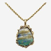 Vintage 14 Kt Yellow Gold and Boulder Opal Pendant with Chain