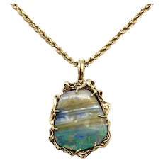 Vintage Gold and Boulder Opal Pendant with Chain