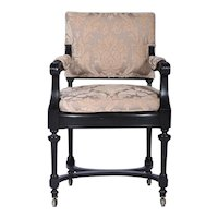 Antique Library Arm Chair, Ebonized, Directoire Style, France 1860's