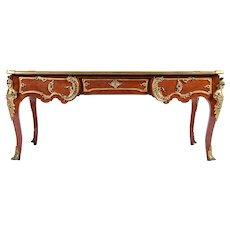 Antique Regency Louis XV Style Presidential Bureau Plat Bronze -Ormolu Marble Top France 19th/20th C