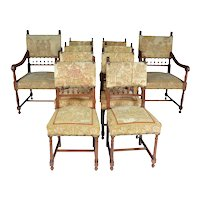 Set of 10 Needle Petit Point Upholstered Chairs in Henry II style. Walnut, France 19th Century.
