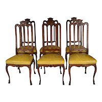 Antique Louis XIV Oak Set Six (6) Chairs. Dining-Kitchen. France. 19th Century.