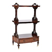 19th Century English Rosewood Upright  Music  Stand 3 Tier Bow Front Drawer. Antique, 1850's