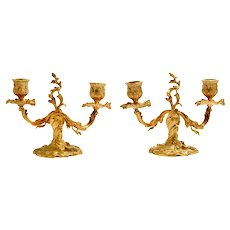 Pair Candlesticks Louis XV Gilded Dore Bronze  France 19th Century