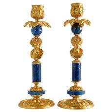 English Regency Style Figural Candlesticks Pair in Gilt Bronze Ormolu, Lapis Lazuli. 19th / 20th C.