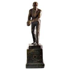 Schmidt Hofer (1873-1925) Berlin, Germany. Bronze figure of a Bowler. Art Deco Period.