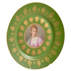 Antique French Sevres Hand-Painted & Gilt Porcelain Portrait Plate. Wife of Napoleon Army General