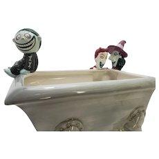Large HTF Ceramic Disney Store Lock Shock Barrel Tim Burton Nightmare Before Christmas Tub/Bathtub Candy Dish/Bowl