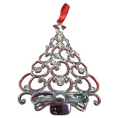 LENOX Sparkle and Scroll Clear Crystal TREE Ornament