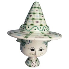 Bjorn Wiinblad Whimsical Pottery Face/Head Hat Bowl/Cup/Vase/Potpourri 70 Danmark