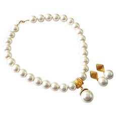 Designer Signed Napier Large Faux Pearl Necklace And Earring Jewelry Set