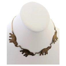Pididdly Links NY Vintage Brass Pendant Drop Necklace