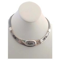 925 Sterling Silver Mother Of Pearl Victorian Style Mesh Choker