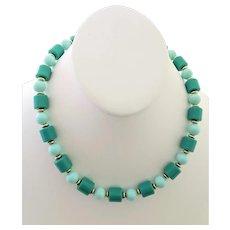 Vintage Lucite Bead Mint Green Necklace