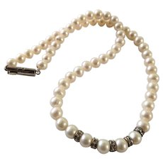 Vintage Freshwater Pearl And Rhinestone Choker Necklace