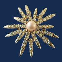 Designer Signed Emmons Vintage Rhinestone Starburst Brooch