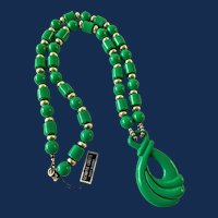 Green Lucite Bead Large Pendant Necklace
