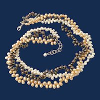 925 Sterling Silver Three Strand Colored Pearl Necklace