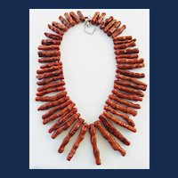 Sterling Silver Red Bamboo Coral Branch Bib Necklace