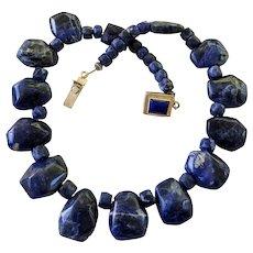 925 Sterling Silver Large Blue Gemstone Sodalite Necklace