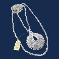 Signed Crown Trifari Large Pendant Multi Strand Necklace