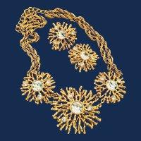 KJL For Avon Gold Tone Rhinestone Starburst Necklace And Earrings Jewelry Set