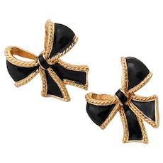KJL For Avon Gold Tone Black Bow Clip On Earrings