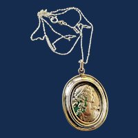 925 Solid Sterling Silver Large Cameo Pendant Necklace