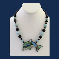 Designer Signed Lee Sands Large Dolphin Shell Inlay Pendant Necklace