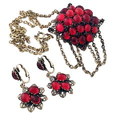 Vintage Judy Lee Red Jelly Belly Demi Parure Pendant Brooch And Earrings