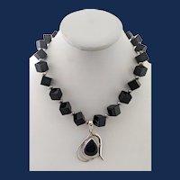Sterling Silver Onyx Bead Large Teardrop Pendant Necklace