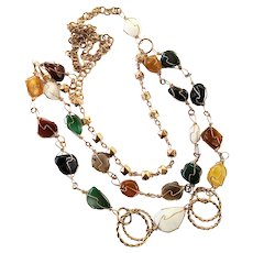Natural Polished Stone Multi Strand Chain Necklace