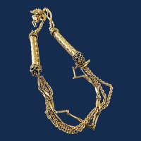 Whiting Davis Gold Tone Multi Strand Chain Necklace