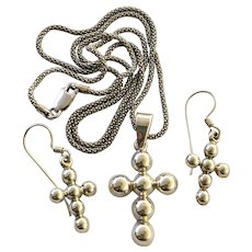 925 Sterling Silver Beaded Southwestern Style Cross Necklace Set
