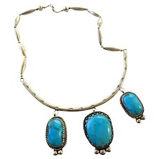 Vintage Sterling Silver Large Turquoise Three Stone Pendant Necklace