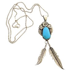 RB Sterling Silver Turquoise Feather Pendant Necklace