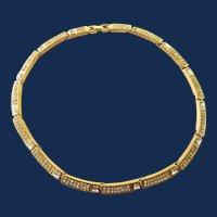 Designer Signed Givenchy Gold Tone Rhinestone Panel Choker Necklace
