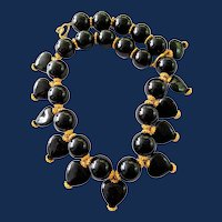 Art Deco Large Onyx Bead Necklace
