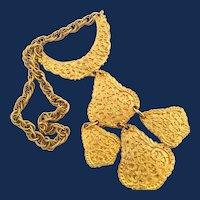 Designer Signed Large Gold Tone Bib Style Pendant Necklace
