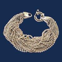 Sterling Silver Multistrand Ball Bead Designer Chain Bracelet