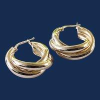 925 Sterling Silver Large Twisted Hoop Earrings