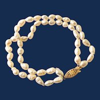 14k Yellow Gold Double Strand White Pearl Bracelet