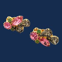 Gold Tone Hot Pink Rhinestone Cluster Clip On Earrings
