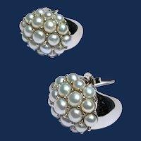 925 Sterling Silver Pearl Cluster Hoop Earrings