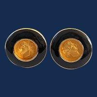 Signed Monet Gold Tone Black Enamel Roman Head Earrings