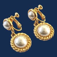 Signed Napier Gold Tone Faux Pearl Drop Earrings