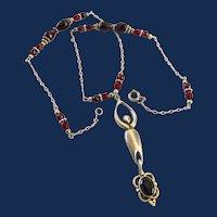 Sterling Silver Garnet Pendant Gemstone Drop Necklace